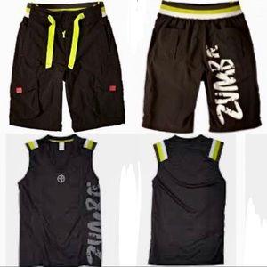 NEW Men's Zumba Cargo Shorts/Muscle Tank Set